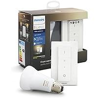 Philips Hue White Ambiance - Kit de bombilla LED E27 e interruptor o mando, 9,5 W, iluminación inteligente, luz blanca cálida y fría regulable, compatible, Apple HomeKit y Google Home