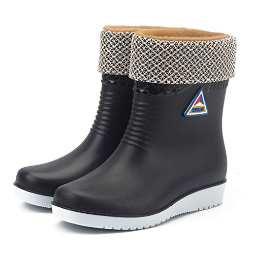 MMOOVV Women Anti Slip Half-Height Plus Velvet(Detachable) Rain Boots Slip On Waterproof Rubber Rain Boots