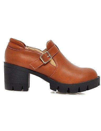 ShangYi Scarpe Donna - Scarpe col tacco - Formale - Tacchi / Punta arrotondata - Quadrato - Finta pelle - Nero / Giallo / Grigio / Beige Black