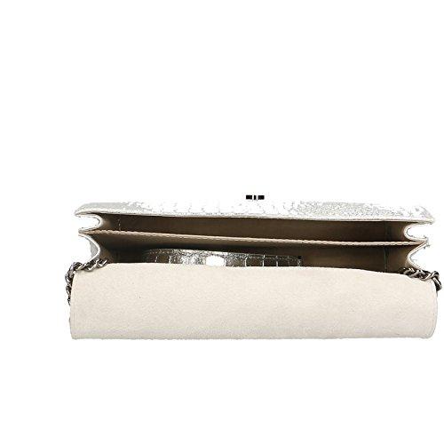 Chicca Borse Clutch Borsetta Borsa a Spalla Stampa Cocco da Donna con Tracolla in Vera Pelle Made in Italy - 30x20x10 Cm Argento