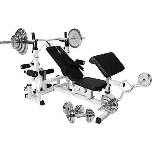 GORILLA SPORTS Hantelbank Universal mit Hantel-Set Chrom 108 kg - Langhantel, Curlstange, Kurzhanteln, Gewichtsscheiben und Sternverschlüssen