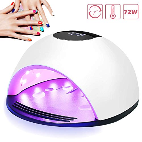UV LED Nail Lamp, Nivlan Newest 72W Nail Dryer, Professional Acrylic Nail Curing Lamp with 4 Timer Setting, Automatic Sensor for Gels Polishes