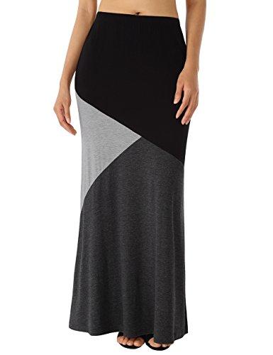 WAJAT Women's Color Block High Waist Long Maxi Skirt with Pockets
