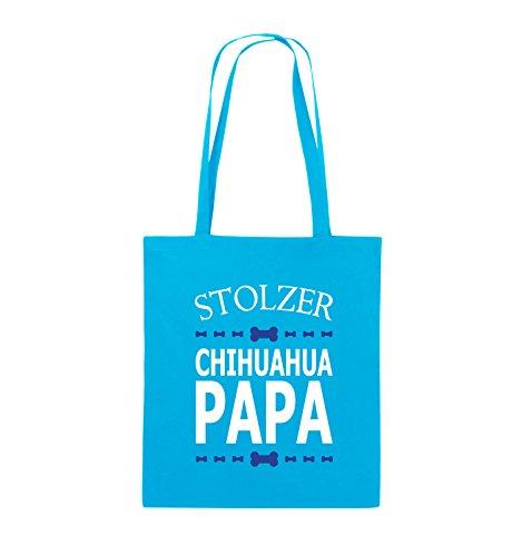 Comedy Bags - Stolzer Chihuahua Papa - Jutebeutel - lange Henkel - 38x42cm - Farbe: Schwarz / Weiss-Neongrün Hellblau / Weiss-Royalblau