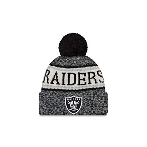 f220aeec8e1c0 New Era Oakland Raiders NFL 18 Sideline Sport Knit Hat Black White Size One  Size