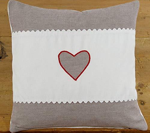 Matches21 - Funda de cojín con Cenefa Gris y Blanca con RIC Rac y corazón, 40 x 40 cm, 1 Unidad
