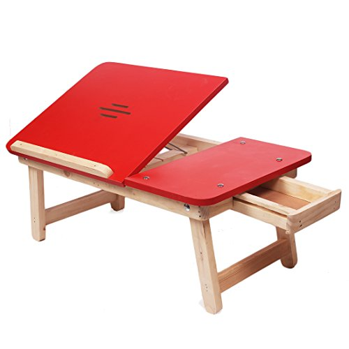 Ebee New Style Red Wooden Laptop Table (With Drawer, Very Strong)