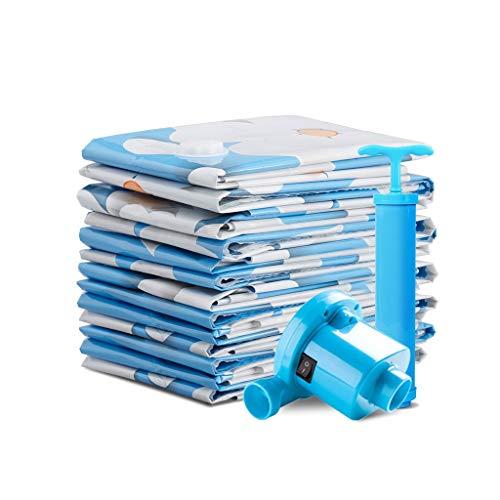 Fleur bleue sous vide Sac de compression Sac de rangement Grande couette extra large Couette Sac de tri Vêtements Vêtements Sac d'emballage Pompe à main Épaississement Utilisation répétée