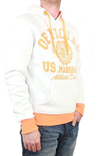 US Marshall Herren Hoodie für Männer Pullover mit Kapuze in verschiedenen Farben Weiß-Orange