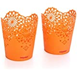 Nayasa Lacy 2 Piece Plastic Tall Basket Set, Orange