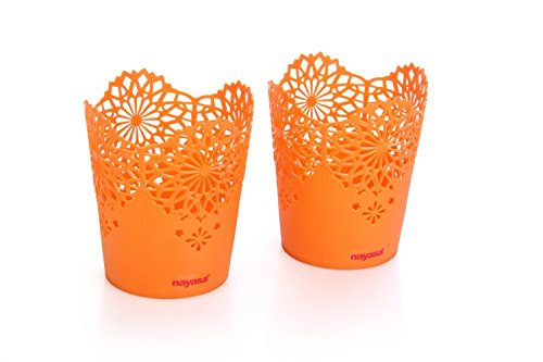 Nayasa Lacy 2 Piece Plastic Tall Basket Set, Orange