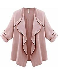 YunYoud Damen Frühling Herbst Große Größe Mantel Frau Lose Einfarbig Tops  Lange Ärmel Outwear Mode Beiläufig 5b8d125db4