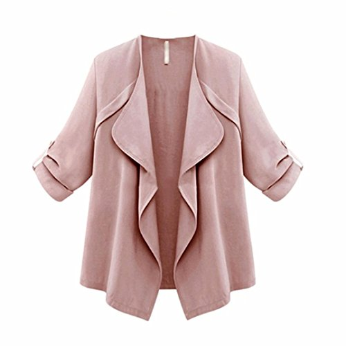 YunYoud Damen Frühling Herbst Große Größe Mantel Frau Lose Einfarbig Tops Lange Ärmel Outwear Mode Beiläufig Jacke (XXXL, Rosa)