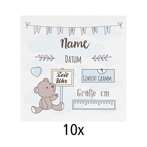 Striefchen® Kühlschrankmagneten 10 Stück Dankeskarten zur Geburt mit Namen und Geburtsdaten des Kindes Jungen