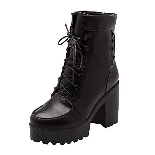 DressLksnf Damen Stiefelette High Heel Trichterabsatz Damen Stiefeletten Trendige Leder Chelsea Boots High Heel Plateau Dicke wasserdichte Stiefelette Chelsea Boots