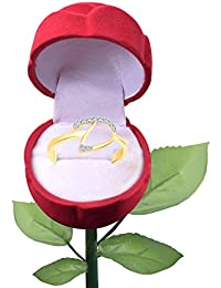 Vighnaharta Initial ''D'' Letter With Rose Ring Box CZ Gold And Rhodium Plated Alloy Finger Ring For Women And...