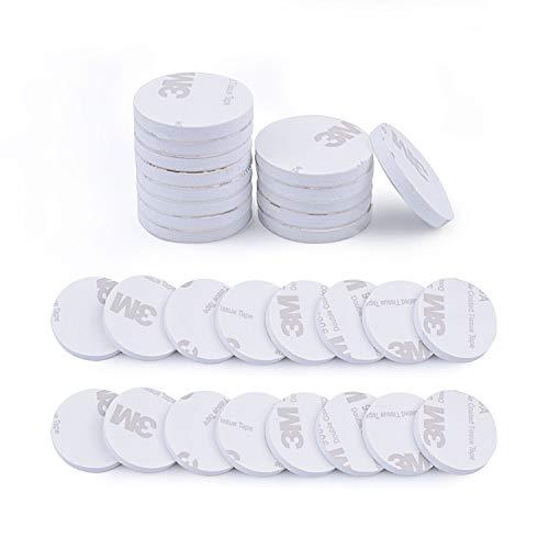 euhuton 50 Stücke Doppelseitig Weiß Schaumstoff-Pads doppelseitiges Schaumband doppelseitiges rundes Klebeband Montage-Pad Selbstklebend Montage Klebestreifen Klebepads -