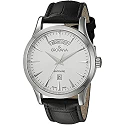 GROVANA 1201.1532 Men's Quartz Swiss Watch with Silver Dial Analogue Display and Black Leather Strap