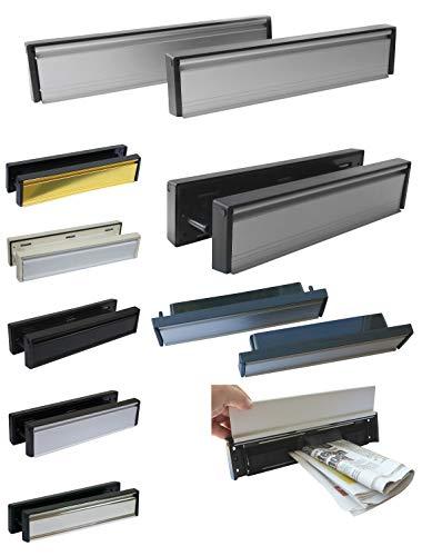 Briefeinwurf mit Schacht + mit Bürste-Edelstahl pol. oder Aluminium-305 x 65 mm-Briefeinwurf-Briefklappe-Briefschlitz (Alu. weiß-Kanten weiß)