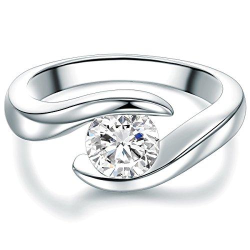 Tresor 1934 anello da donna / anelli solitario argento sterling 925 zirconia bianco taglio brillante - anello di tensione tornito anello di fidanzamento richiesta di matrimonio anello nuziale