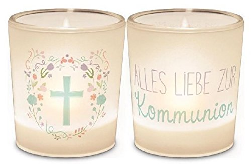 Windlicht+Teelicht 6x6cm Für Dich Kommunion Kreuz
