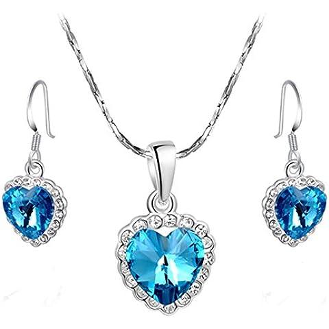Da donna Generous platino placcato oceano ciondolo a forma di cuore collana e orecchini set di gioielli