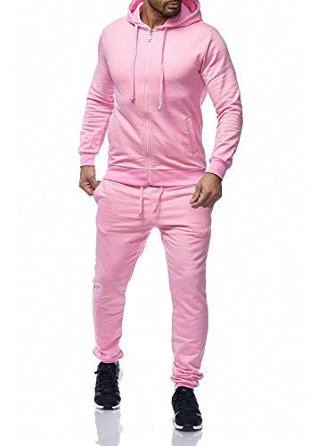 Uni Colour Herren Jogging Anzug Jacke Sport Hose Fitness Hoodie Hose Einfarbig Rosa M (Rosa Anzug Jacke Herren)