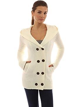 PattyBoutik Mujer Abrigo suéter de Punto de Doble Botonadura con Capucha