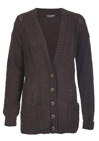 Fast Fashion - Cardigan Papy Câble Manches Longues Tricoté Bouton - Femmes, - C-Brown, Taille Unique = (Fits 36-42)