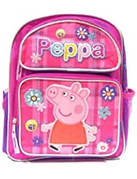 New Peppa Pig Allover Flower Pink 16 Inches Large School Backpack-2243