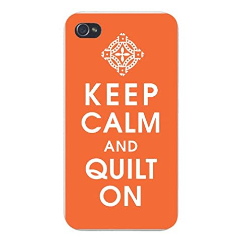Apple Iphone Custom Case 5 5s Snap on - Keep Calm and Quilt On w/ Fabric Pattern
