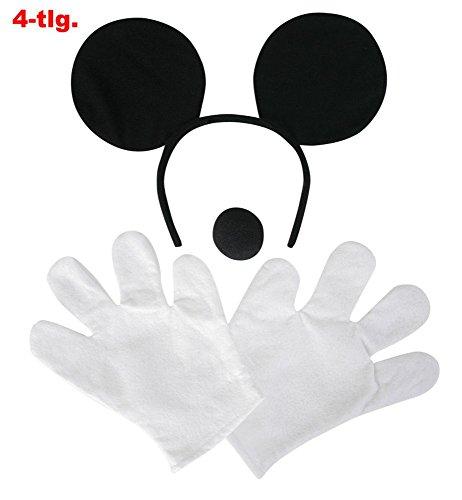 Comic-Maus Set, 4-tlg., Handschuhe, Harreif und Nase