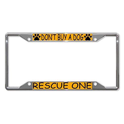 """Metall-Kennzeichenrahmen mit 4 Löchern für Männer und Frauen, mit Aufschrift """"Don't Buy A Dog Rescue One Paws"""", ideal für Autos, für Herren und Damen"""