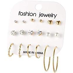 Yiyue925 Silber Ohrringe Shi Hua Damen Ohrringe Und Die Ungeraden Element 9 Teiliges Set Ohrringe Ohr Nagel Ohrringe Kombination Von Kleinen Und Mittleren Ring, 9-Tlg. Gold
