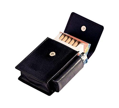 Egoist Premium - Zigarettenetui aus hochwertigem Leder I Zigaretten HülleI Box I Schachtel I Inklusive Feuerzeug Fach I Passend für Zigarettenschachtel in Standardgröße - Schwarz