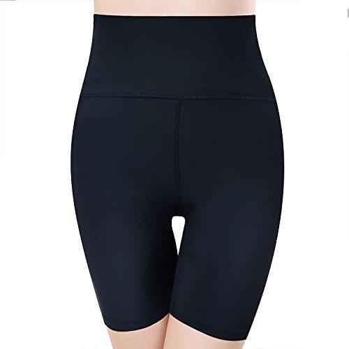 mujer Pantalones cortos de adelgazamiento negro Pantalones de compresión de abdomen de alta cintura