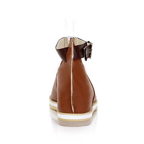Balamasa da donna, aperti in punta, tacco basso, con motivo a sandali Brown