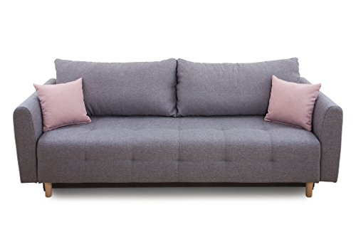 Collection AB Scandinavia Bettfunktion und Bettkasten Schlafsofa, Stoff, Hellgrau, 86 x 219 x 93 cm