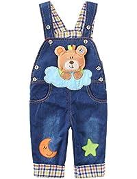Peto Vaqueros Pantalones Para Bebé Niños Niñas Azul Largo Lindo Con Patrón De Oso Estrella Luna Pantalones Overall