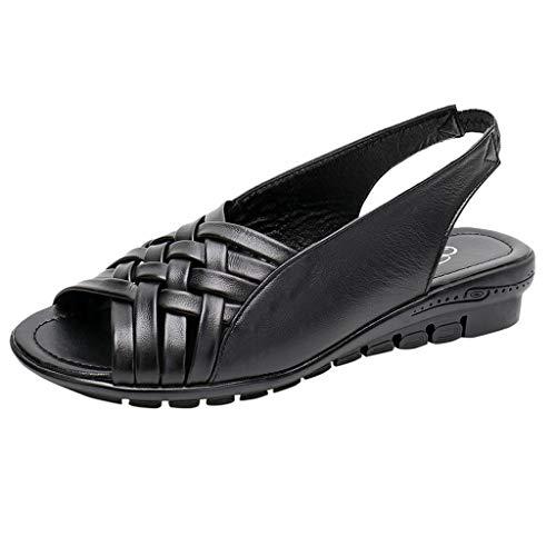 DEELIN Damen Sandalen Sommer Schuhe PU Flache Sandalen Open Toe Mutter Wedges Casual Sandalen Band-boot Gaucho