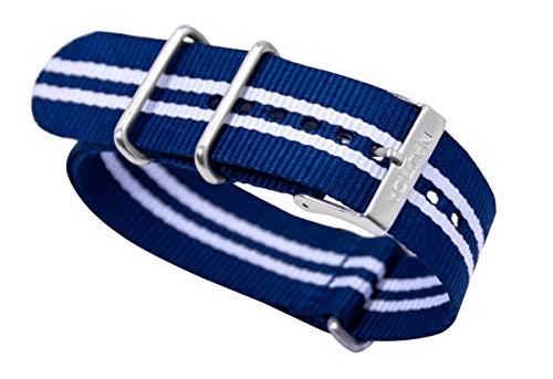 Nautica Herren N14668G | A14668G NST 17 Multifunktions NATO Blau - Weiß Gestreiftes Nylon Ersatz 24m