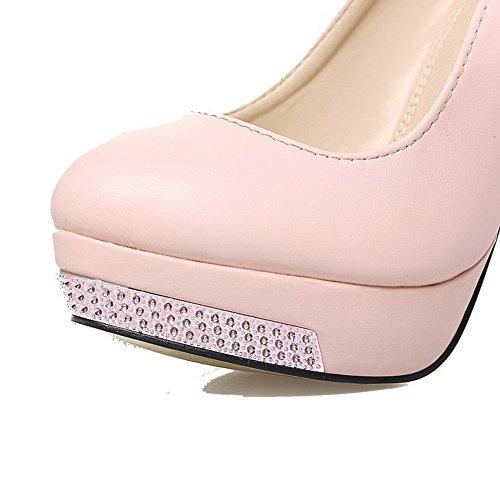 AgooLar Femme Pu Cuir à Talon Haut Rond Mosaïque Tire Chaussures Légeres Rose