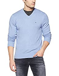 Tommy Hilfiger Mens Cotton Sweater (8907504767786_A7AMS136_L_Bel Air Blue Heahter)