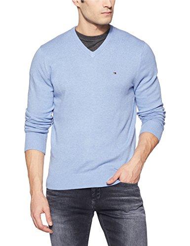 Tommy Hilfiger Mens Cotton Sweater (8907504767786_A7AMS136_L_Bel Air Blue Heahter)
