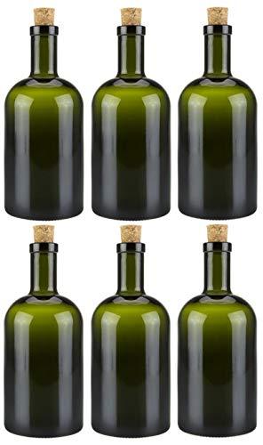 mikken 6 x grüne Glasflasche 500 ml Ölflasche mit Korken