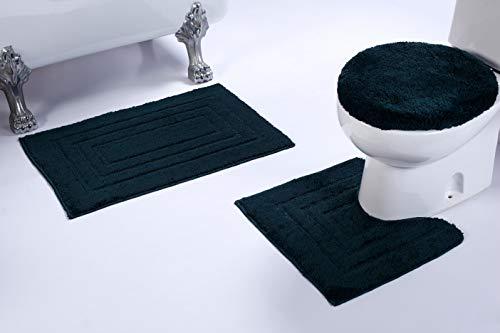 Anti-Rutsch-Badevorleger, rechteckig, für Badezimmer, U-Form, Matte und WC-Deckelbezug, 3 Stück 3pc Bath Set Hunter Green - Hunter Green-zubehör