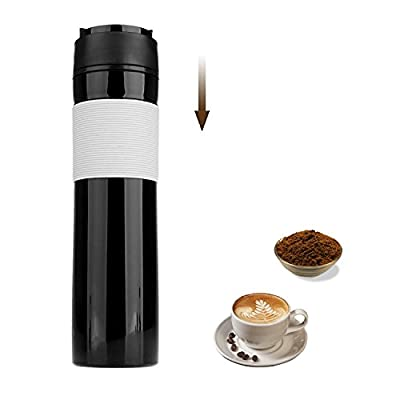 Coffee Maker French Press Travel Coffee Mug Protable Tea and Coffee Maker Bottle, Hot and Cold Coffee Brewer, Travel Tumbler Great for Commuter, Camping, Outdoors and Office, 350ml/12oz