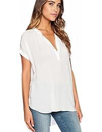 Fuxiang Blusas Mujer Gasa Camisetas Camisas Manga Corta Blusa Camisa Cuello V Shirt Casual Camiseta Top Señoras T Shirt Color Puro Irregular T-Shirt