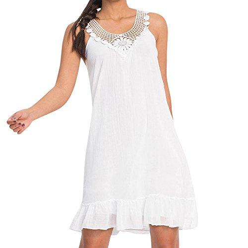 MAYOGO Rayon Ärmellos Spitzen Patchwork Sommer Ruffle Kleider Solid Schulterfrei Rückenfrei Freizeit Minikleid Blusenkleid ()