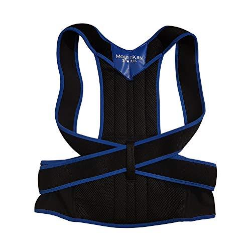 Mount Kay SPORTS Rückenstabilisator Premium Comfort Geradehalter für Damen und Herren zur aktiven Stützung und Geradehaltung der Rückenwirbelsäule, Haltungskorrektur und Rückenstütze (Black, M)
